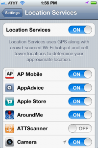 Location Services settings